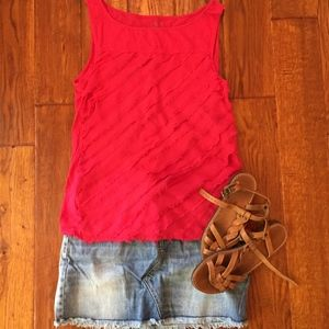 LOFT Red Fringe Tank - Perfect for July 4th!